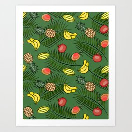 Tropical fruits pattern Art Print