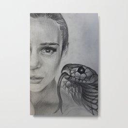 Graphic art, portrait, snake, fear Metal Print