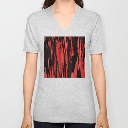 Unique Abstract Scarlet and Black Design Unisex V-Neck