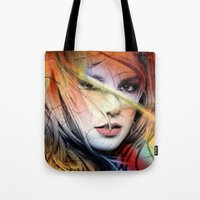 britney spears Tote Bags featuring  britney spears  by mark ashkenazi