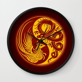 Yellow and Red Dragon Phoenix Yin Yang Wall Clock