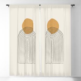Gold Sun rainbow mountain Blackout Curtain