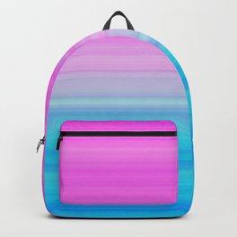 Pink & Aquamarine Blue Stripes Backpack