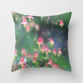 Red Columbine - Wildflower Photograph Throw Pillow