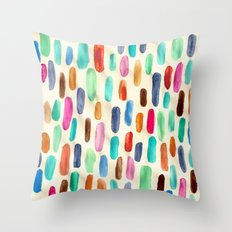 Vintage Rain - hand painted watercolor pattern Throw Pillow