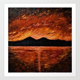 FIERY SUNSET AT MURLOUGH - Oil  Painting Art Print