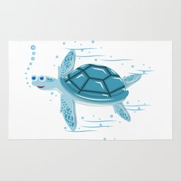Funny Swimming Turtle Air Bubbles Gift Rug