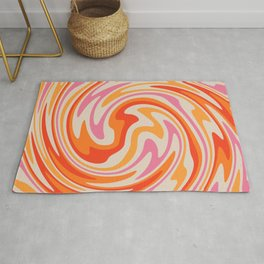 70s Retro Swirl Color Abstract Rug