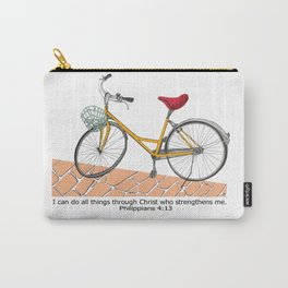 Bicycle design with Bible Verse Philippians 4:13 Carry-All Pouch