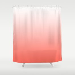 Living Coral Ombre - Coral and White Shower Curtain