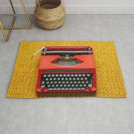 Red Portable Typewriter Rug