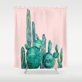 cactus jungle watercolor painting Shower Curtain