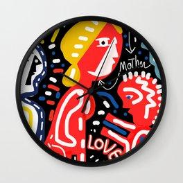 Mother and Son = LOVE Street Art Graffiti Art Wall Clock