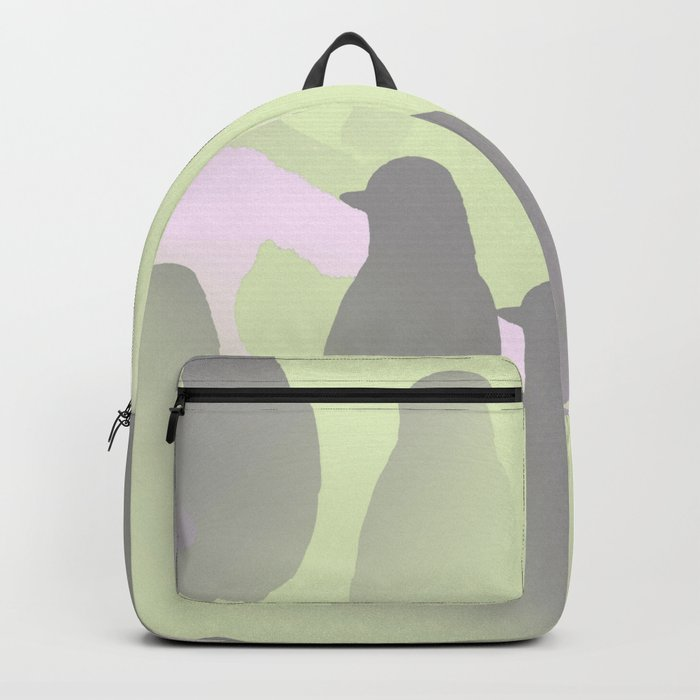 Spring mood - singing birds on a green pink background Backpack