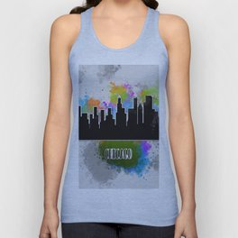 Watercolor art of the Chicago skyline silhouette Unisex Tank Top