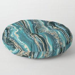 Turquoise Gold Sparkling Luxury Marble Gemstone Art Floor Pillow