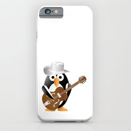 Funny penguin with guitar iPhone Case