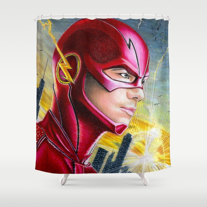 Barry Allan THE FLASH Shower Curtain By Tonyillustrations