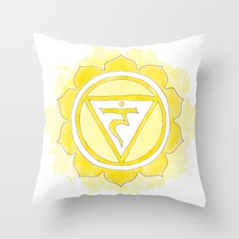 Manipura chakra watercolor painting Throw Pillow
