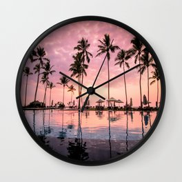 Pastel Sunset Palms Wall Clock