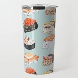 Sushi Persian Cat Watercolor Travel Mug