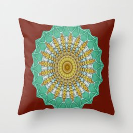 Lovely Healing Mandala  in Brilliant Colors: Burnt Orange, Green, Wheat, Gray, and White Throw Pillow