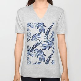 Blue Palm Leaves Unisex V-Neck