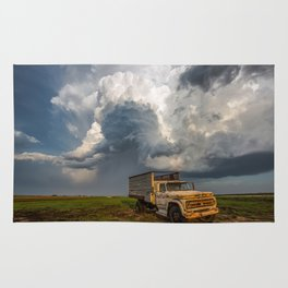 Work Hard - Old Farm Truck and Storm in Southern Kansas Rug