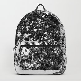 Tree Top // Snowy Winter Alpine Branches Trunk Nature Landscape Photography Black and White Decor Backpack