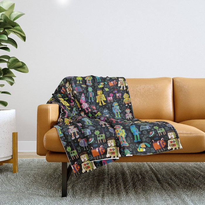 Robots in Space - on black Throw Blanket