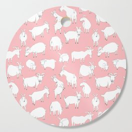 Goats Playing – Pink Cutting Board