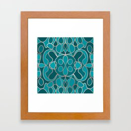 Modern Artsy Ocean Blue Rose Gold Geometric Framed Art Print