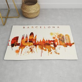 Barcelona Spain Red Yellow Skyline Rug