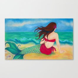 Thinking of You Mermaid, Hawaiiana Canvas Print