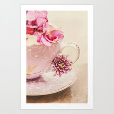 Flower storm in a teacup Art Print