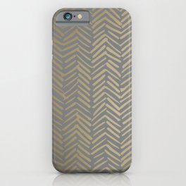 Herringbone, Boho, Mudcloth Pattern, Grey and Gold iPhone Case