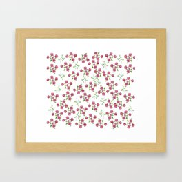Watercolor roses on white backgroung Framed Art Print