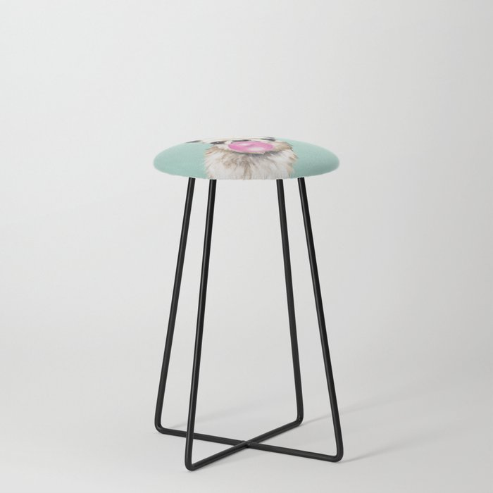 Bubble Gum Sneaky Llama in Green Counter Stool