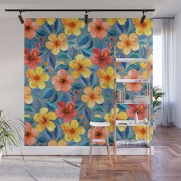 Colorful Watercolor Hibiscus on Grey Blue Wall Mural