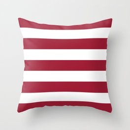 University of Alabama Crimson - solid color - white stripes pattern Throw Pillow