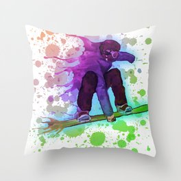 Paint splatter rainbow snowboarder Throw Pillow