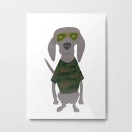 Camo Weim Hunting Grey Ghost Weimaraner Dog Hand-painted Pet Drawing Metal Print