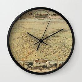 Vintage Bird's Eye Map Illustration - Bakersfield, Kern County, California (1901) Wall Clock