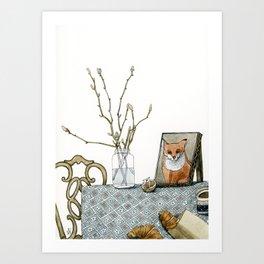 coffee and croissants Art Print