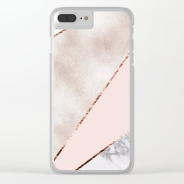 Spliced mixed rose gold marble Clear iPhone Case