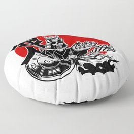 Skeleton Samurai Warrior with Ronin Japanese Lettering Floor Pillow