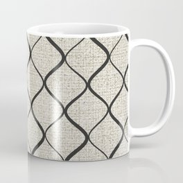 Black Bege Modern Lines Pattern Coffee Mug