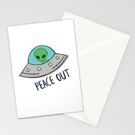 Peace Out Alien UFO Stationery Cards