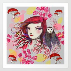 Red Owl Gal Art Print