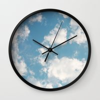 clouds Wall Clocks featuring Clouds by Thoughts from behind the Lens